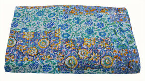 Queen Size Mix Patchwork Bedspread Indian Cotton Ethnic Kantha Quilt Coverlet