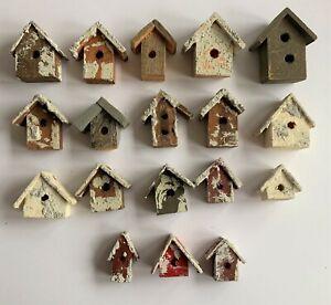Mini Wooden Birdhouses (Lot of 18) Decor Craft Projects PLEASE READ DESCRIPTION