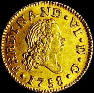Spain 1758 MADRID  ☆ FERNANDO VI ☆ GOLD 1/2 ESCUDOS ☆ UNC ☆ SCARCE ☆