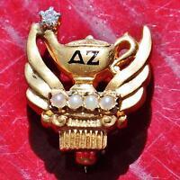 Vintage Delta Zeta 14k yellow gold pearl & white topaz sorority pin 3.8gr