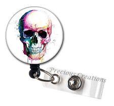 Skull Watercolor Art ID Badge Reel Holder Clip Retractable RT Tech Nurse