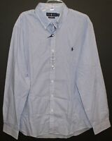 Polo Ralph Lauren Mens Blue Striped Slim Fit Button-Front Shirt NWT Size 2XL XXL