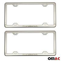 FLORIDA Print License Plate Frame Tag Holder Chrome S. Steel Fits Chevy Camaro