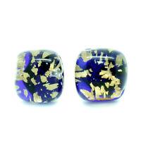 Murano Glass Stud Earrings Blue and Gold Handmade Venice