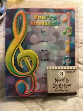 Music Musical Notes Party 8 Invitations & Envelopes