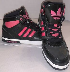 Kids Adidas Hard Court Hi Top Pink Black Basketball Shoes G59672 Size 6 EC
