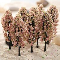 20 Pink Peach Flower Trees Model Train Railway Fairy Garden Spring Park Diorama