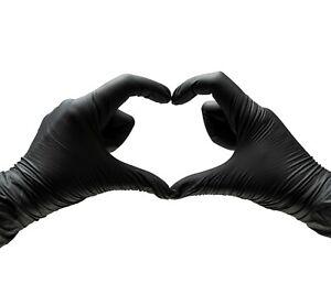 Nitrile Gloves BLACK HEAVY-DUTY {S M L XL} Powder free Latex free