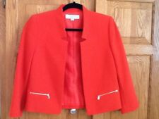 Tahari Women's Jacket Size 2  Red Open Front Exposed Zip Pockets Lined NNT