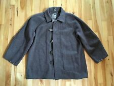 "Vintage STEEL GRIP Industrial Wool Work Jacket w Leather Tabs at Snaps 26"" Chest"