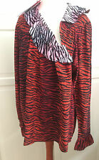 KENZO X H&M Bluse Seide rot tigergestreift blouse silk EUR Größe 36 size US 6