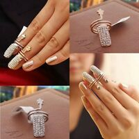 Fashion Crystal Rhinestone Flower Finger Tip Nail Ring Wedding Party Jewelry New
