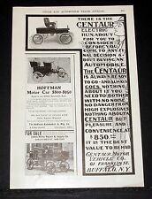1903 Old Magazine Print Ad, The Centaur Electric Runabout, Always Ready To Go!