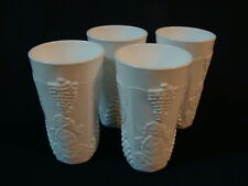 Indiana Glass Colony Milk Glass Harvest Grapes, 4 Tumblers Coolers 16 On.