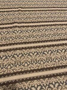 "Woolrich Wool Square Picnic Throw Blanket 58"" X 58"" Fair Isle Floral Gray Brown"