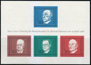 Germany 1968 MNH Mi Block 4 Sc 982 Adenauer, Churchill, de Gasperi,Schuman **
