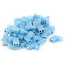 Auto Elec Terminals (15 Pack) - BLUE Flat Spade - Female 4mm - 90 Degree wire in