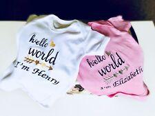 Hello World Personalised Baby Vest, Bodysuit,Grow Newborn Girl Boy Going Home