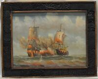 Battleships Seascape Oil Painting on Canvas in Reclaimed Woodblock Printed Frame