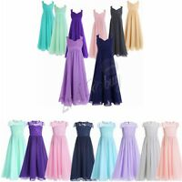Flower Girl Dress Chiffon Party Princess Formal Wedding Bridesmaid Birthday Gown