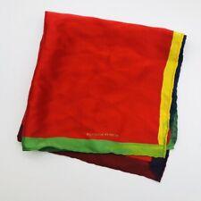 "BOTTEGA VENETA Mens Red/Multicoloured Silk Pocket Square 16"" Rolled Edges"