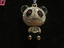 "BETSEY JOHNSON RHINESTONE CRYSTAL BEADS TANGLY PANDA NECKLACE 28"" CHAIN"