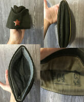 USSR Russian Soviet Red Army Pilotka Side Cap Hat with Officer Star Badge 1940s