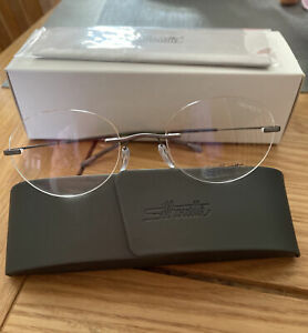 Silhouette TMA Icon 7580 6055 Brown Oval Optical Eyeglasses Frames Titan Rimle