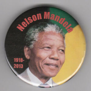 Nelson Mandela badge with photo of South African leader - Black History Month