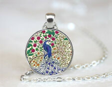 Peacock Necklace Bird Jewelry Nature Glass Dome Blue Peacock Pendant