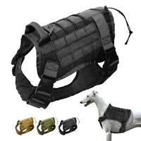 Adjustable Tactical Military K9 Dog Harness MOLLE Hunting Training POLICE BOXER