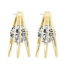 Lusso Marca Design Oro Bianco Zircone Orbe Triangolo Bottone Donna Orecchini