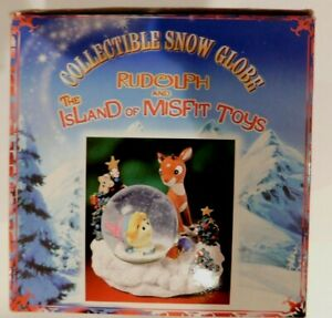 """Rudolph and the Island of Misfit Toys Snow Globe Enesco Japan 4"""" Tall"""