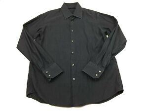 BOSS Hugo Boss Mens Size 16 1/2 34/35 Black Striped Long Sleeve Button Up Shirt