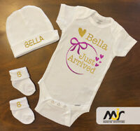 Newborn Infant Baby Hello world Custom Outfit Personalized Bodysuit, Hat, Socks