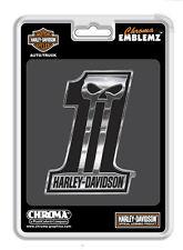 Harley Davidson #1 Skull Injection molded chrome  Decal