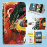 HTC One M7 M8 M9 Print Flip Wallet Case Cover Brain Art W116