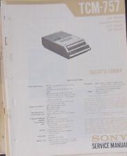 Grabadora De Cassette Sony TCM-757 Manual de taller de reparación de servicio (copia Original)