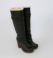UGG women's Clog Inspired SAVANNA Leather and Shearling Boots USA 8/UK 6.5/EU 39