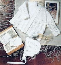 "Baby/Preemie/Reborn MATINEE Veste Set Knitting Pattern 12"" -20"" 4 Plis 141"