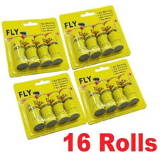 16 Rolls Insect Bug Fly Glue Paper Catcher Trap Ribbon Tape Strip Sticky Flies ♫