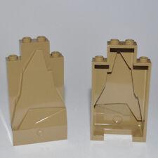 LEGO PARTS- 2X 2X4X6 DARK TAN WALL ELEMENTS/BUILDING PIECES/MOUNTAIN/BEIGE/SAND