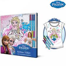 Maglietta Frozen Colorabile e Disegnabile Con 5 Pennarelli Inclusi 100% Cotone
