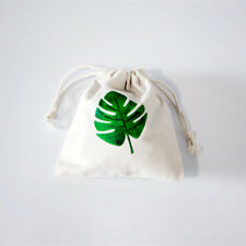 1pc Cotton Drawstring Coin Key Pouch Birthday Party Gift Bag Green Leaf 8206G E