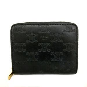 CELINE Macadam Black Leather Zippy Zip Around Wallet /D1775