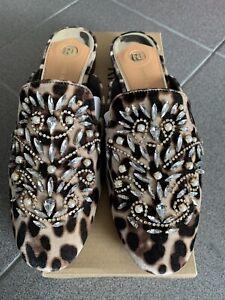 River Island Leopard Print Mules With Diamanté's Uk Size 7 Brand New