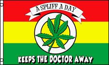 Spliff A Day Rasta 3x5 Polyester Marijuana Leaf Weed Pot Reefer Flag