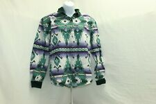 Rough Rider Green Vintage Top Shirt Blouse Womens Size Large