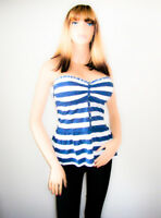 A&F Abercrombie And Fitch Ladies Blue White Stripe Breton Boob Tube Top BNWT
