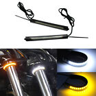 2pcs Switchback W/A LED Fork Turn Signal Daytime DRL Light Strips For Motorcycle